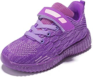 HOBIBEAR Kids Running Shoes Outdoor Sneakers Athletic Shoes Fashion Shoes Toddler Boys Girls(Purple 4)