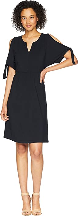 Cotton Modal Spandex Jersey Tied Sleeve Cold Shoulder Dress