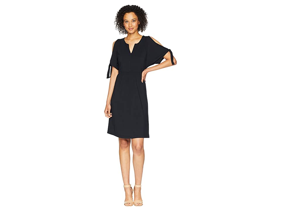 Mod-o-doc Cotton Modal Spandex Jersey Tied Sleeve Cold Shoulder Dress (Black) Women
