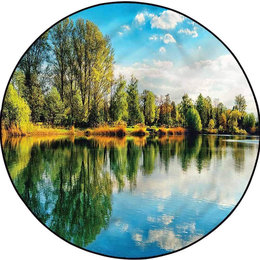 Nature Country Cottage Round Rug Decor Woodla 永遠の定番 Cushion 売れ筋ランキング Yoga Floor