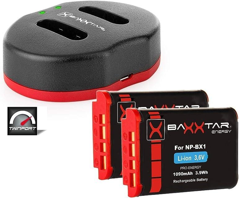 Baxxtar Twin Port 1829 - Cargador Compatible con Batería Sony NP-BX1 y (2X) Baxxtar Pro Batería - para DSC HX95 HX99 RX100 V RX100 VL