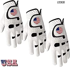 Amy Sport Golf Gloves Men Left Hand Right with Ball Marker USA Flag Value Pack,Soft Leather Weathersof Grip Soft Mens Glove Size S M ML L XL