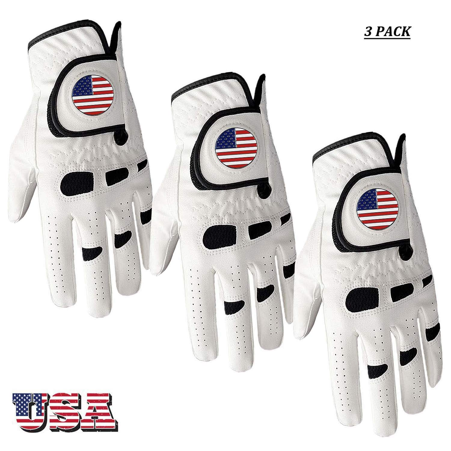 Amy Sport Golf Gloves Men Left Hand Right with Ball Marker USA Flag Value Pack,Soft Leather Weathersof Grip Soft Mens…