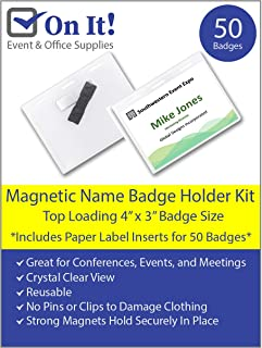 Magnetic Name Badge Holder Kit - Box of 50, 4x3 inch Clear Name Tag Holders for Conferences, Events, and Meetings