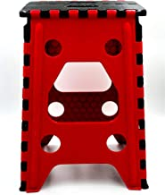 Porygon Banco Taburete Plegable Plástico 120 kg Uso Rudo Resistente (Rojo, Grande Altura 45 cms)
