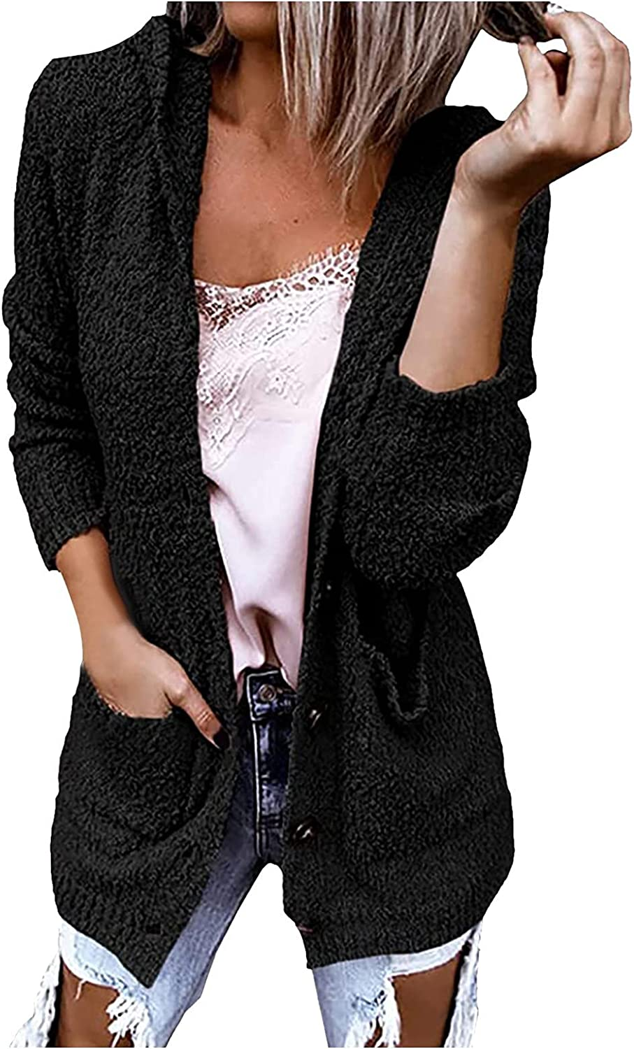 FORUU Womens Lightweight Cardigans,2021 Hooded Cardigan Sweater Solid Plush Pocket Casual Coat Open Front Cardigans