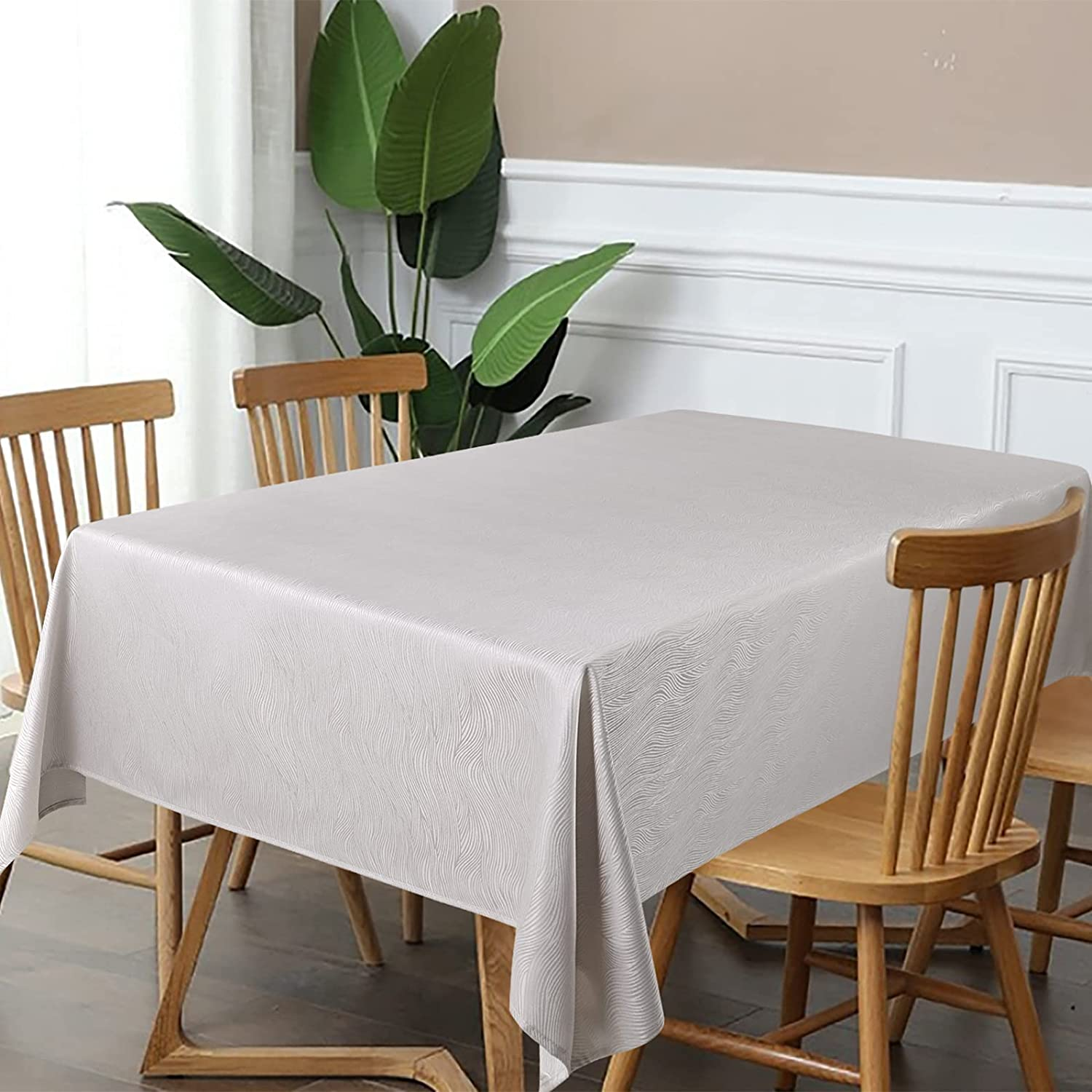 Swirl Pattern Raleigh Mall Table Cloth Waterproof Max 56% OFF Rectangle with Tablecloth