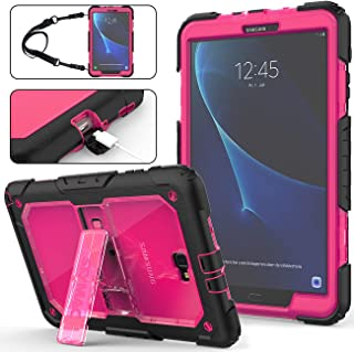 Galaxy Tab A 10.1 T580/T585/T587 2016 Case, (NOT FIT OTHER Tab A 10.1), Full-Body Heavy Duty&[Shock Proof] Hybrid Armor Protective Case with Stand & Strap for Samsung Tab A 10.1-2016-(Rose+Black)