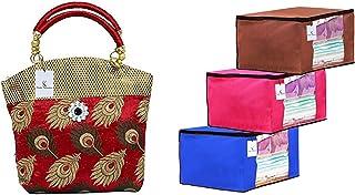 Kuber Industries Women's Handbag (Maroon,Par007605) & 3 Piece Non Woven Fabric Transparent Window Saree Cover Set(Brown, P...