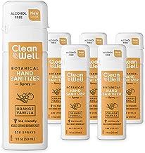 CleanWell Botanical Hand Sanitizer Spray, Orange Vanilla, 1 fl oz (6 PK)—Travel Size, Alcohol Free, Antibacterial, Kid Friendly, Plant-Based, Cruelty Free, Moisturizing Formula