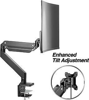 "AVLT Single 13""-43"" Monitor Arm Desk Mount fits One Flat/Curved/Ultrawide Monitor Full Motion Height Swivel Tilt Rotation Adjustable Monitor Arm - Black/VESA/C-Clamp/Grommet/Cable Management"