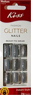 Kiss (1) Box Fashion Glitter Nails 24pc Glue-On Nails Instant Style - Gray with Silver Glitter Line - Medium Length, Square Shape - Boombastic #DBGN04