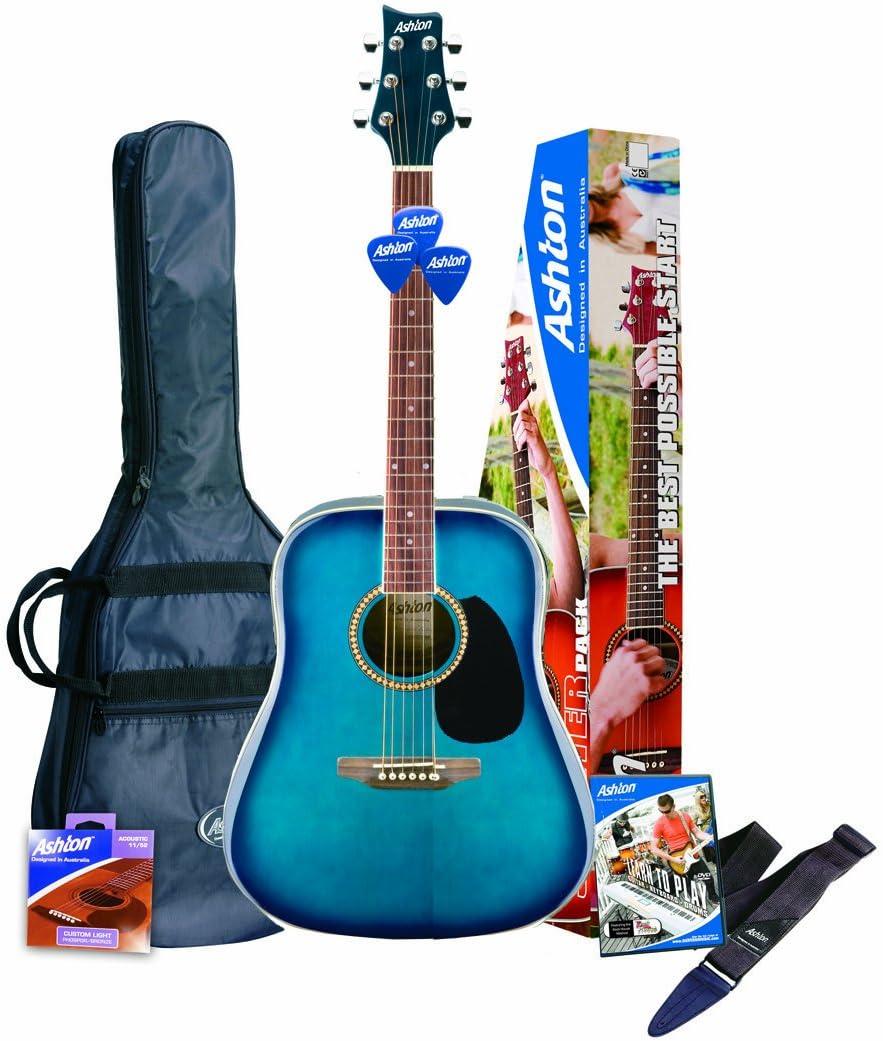 Ashton D25TBB Guitarra acústica, color Azul (Blue Finish)