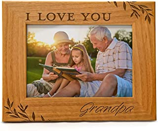 Cedar Crate Market I Love You Grandpa Engraved Natural Wood Photo Frame Fits 5x7 Horizontal Portrait Frame for Grandpa
