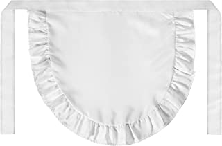 SUN2ROSE Girls Cosplay Waist Apron Tight Costume, White Cotton Half Apron Kitchen Party Favors Also Fits for Kids Apron (Small)