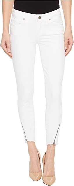 Paige - Verdugo Crop w/ Angled Zip and Raw Hem in Crisp White
