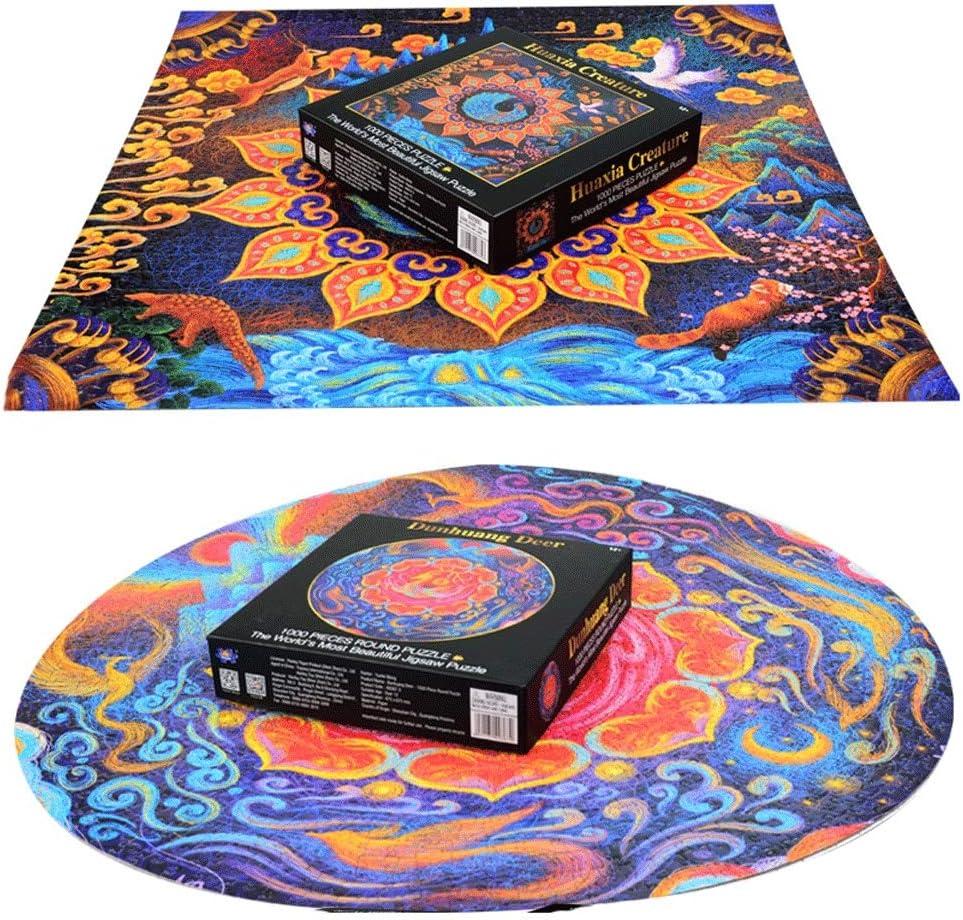 Puzzel 1000 Pieces Of Circular Puzzle Adult Decompression Grote Creative Educatief speelgoed jongens en meisjes Coil Reeks van de Illustratie Gift (Color : K) C