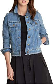 Karl Lagerfeld Paris Women's Denim Jacket W Fringe