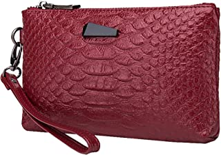 Heshe Leather Crocodile Womens Clutch Bag Organizer Ladies Purse Wrist Bag