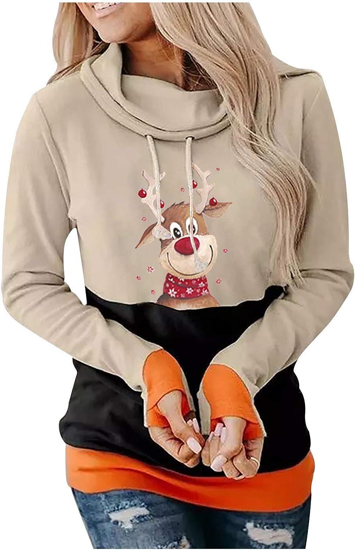 Hoodies for Women,Women Casual Fashion Long Sleeve Christmas Santa Printed O-Neck Tops T-Shirt Blouse