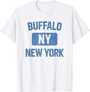 Buffalo NY T Shirt - Gym Style Distressed Blue Print