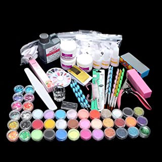Nishore Acrylic Manicure Set Acrylic Powder Glitter for Nail Art Kit Crystal Rhinestone Brush Decoration Tools Kit Manicure