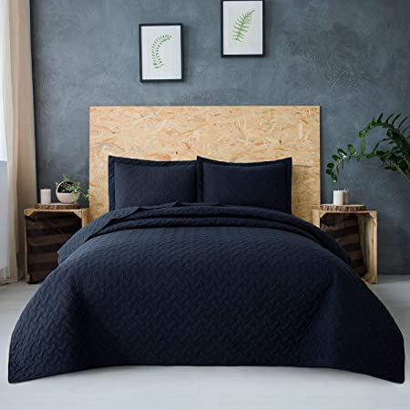 Sleeping Mermaid Print Details about  /Dark Blue Quilted Coverlet /& Pillow Shams Set