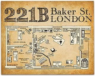 Sherlock Holmes 221B Baker Street - 11x14 Unframed Art Print - Great Gift Under $15 for Sherlock Holmes Fans or Home Theater Decor