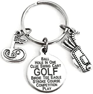 Golf Keychain, Sports Keychain, Golf Stick Charm, Golf Bag Charm, Golf Hole Charm, Golf Charm Keychain, Small Gift for Golf Lovers, Golf Key Ring