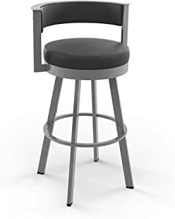 Amisco Browser Swivel Stool (Glossy Grey Metal Charcoal Black, Counter Height)
