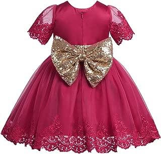 TiaoBug Baby Girls Flower Ruffled Princess Bowknot Wedding Pageant Christening Baptism Communion Party Dress