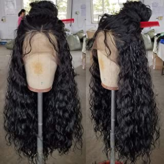 QD-Tizer Loose Curly Hair Wigs Synthetic Lace Front Wigs for Black Women Balck Long Curly Lace Front Wigs with Baby Hair H...