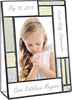 First Communion Gifts Personalized Picture Frame Custom Engraved Glass 4x6 Vertical Photo Green and Antique Yellow J Devlin Pic 430-46V EP620