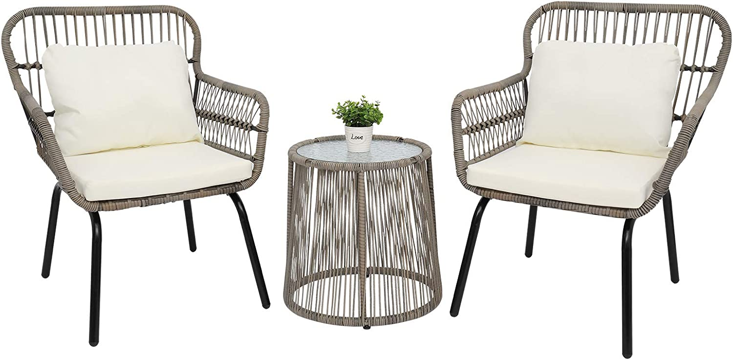 Free shipping New TRRAPLE 3 Pieces Max 87% OFF Patio Furniture Set Outdoor Furni Wicker