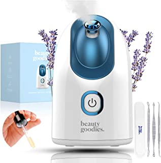 BG Facial Steamer - Aroma Nano Ionic Face Steamer for Facial with Blackhead Remover Kit - Spa Quality Pore Cleanser, Humidifier - BPA Free Deep Cleansing Home Facial for Blackhead Vacuum