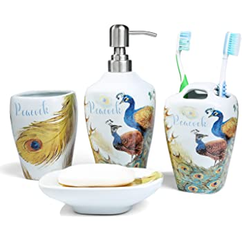 Toothbrush Cup Soap Dispenser Soap Dish 4 Piece 3D Floating Seahorse Shell Bathroom Ensemble Set with Toothbrush Holder FORLONG FL3027 Ceramic Bathroom Accessories Set