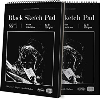 MOFUNY Black Sketch Pad, 9 x 12 inches, 60 Sheets Each (92lb/150gsm), 2 Pack, Heavyweight Drawing Paper with Hard Cover & ...
