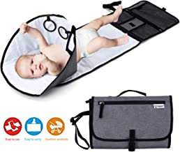 Baby Portable Changing Pad, Diaper Bag,Travel Mat Station,Foldable Waterproof Cushioned Diaper Changing Mat with Built-in Pillow