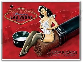 Gallery Prints - LAS Vegas Cigar Lounge SUGARDADS Martini Bar Vintage Poster Pinup Girl Print - Measures 24