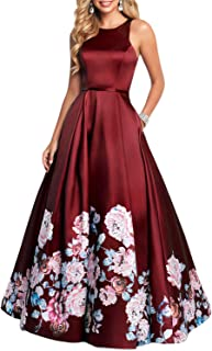 Women's Vintage Floral Print Long Prom Dress A line Evening Dress