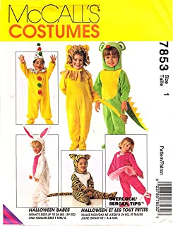 7853 McCalls Sewing Pattern UNCUT Girls Boys Child Halloween Costume Clown Bunny Lion Tiger Mouse Santa Dinosaur Ballerina Size 1