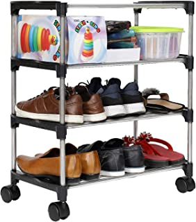 Happer Premium 3-Tiers Shoe Rack/Multipurpose Storage Rack with 4 Caster Wheels, Classic (Black & Silver)