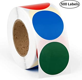 Methdic 1.5'' Round Color Coding Labels Dot Stickers 4 Colors 500 Labels 1 Roll (Dotsticker)
