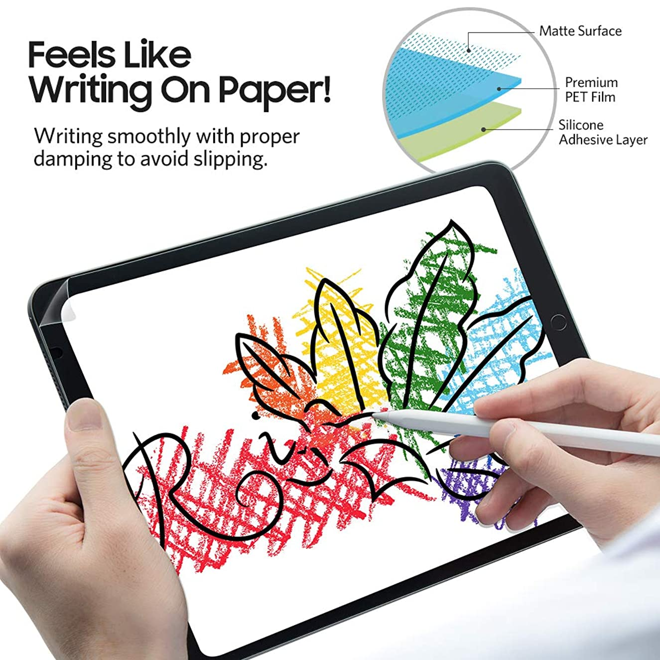 "Benks Paper-Like Screen Protector for iPad 9.7 Paper-Feel PET Film Write, Draw and Sketch [Anti Glare/Scratch/Fingerprint] for iPad Air/ Air2/ Pro 9.7"" [Apple Pencil 1st Generation Compatible]"
