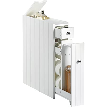 VonHaus Meuble de Rangement Salle de Bains Ultrafin 1 tiroir – Blanc – 50 x 14.2 x 58 cm