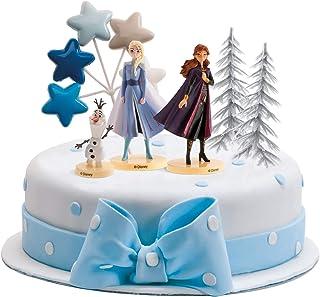 dekora Disney Frozen Die Eiskönigin Tortenfigur mit Tortentoppers-ELSA, Anna und Olaf, Mehrfarbig, Verschiedene Größen, 6