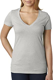 aa34bca1c2 Next Level Apparel Women s CVC Deep V-Neck T-Shirt