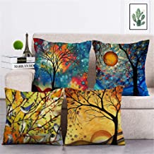 4pack Oil Printing Tree with Moon and Birds Style Throw Pillow Case Decorative Square Cotton Linen Cushion Cover for 18 X ...