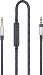 Audio Replacement Cable with in-Line Mic Remote Volume Control Compatible with Sennheiser Momentum, Momentum 2.0, HD1 Headphones, Audio Cord Compatible with Samsung Galaxy Huawei Android