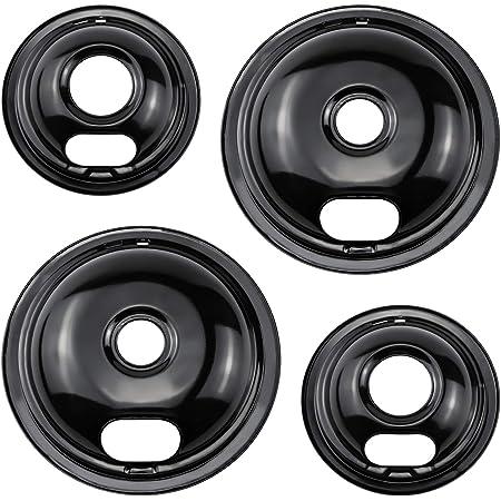 "Cenipar Burner Drip Pans W10290350 8""(2-Pack)& W10290353 6"" (2- Pack) Drip Pans,Black Style Porcelain Drip Pans for Whirlpool Electrulox Frlgidalre Electric Stove & Surface Burner"